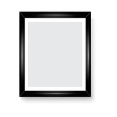 Glossy black picture frame for your presentations. Vector
