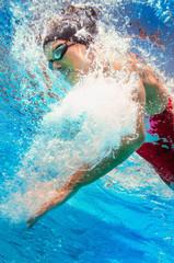 Underwater view of female swimmer