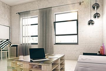 Room with empty laptop