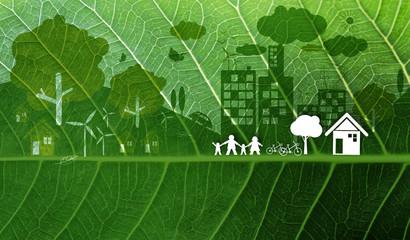 Ecology concept design on fresh green leaf texture background
