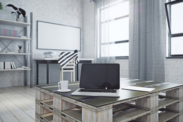 Interior with empty laptop