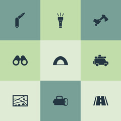 Vector Illustration Set Of Simple Camp Icons. Elements Hatchet, Path, Position And Other Synonyms Hand, Penknife And Camper.