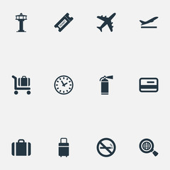Vector Illustration Set Of Simple Travel Icons. Elements Protection Tool, Cigarette Forbidden, Takeoff And Other Synonyms Flight, Bag And Luggage.