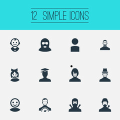 Vector Illustration Set Of Simple Avatar Icons. Elements Sprinter, Internet Profile, Prince And Other Synonyms Man, Speedometer And Prince.