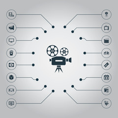 Vector Illustration Set Of Simple Cinema Icons. Elements Plasma Monitor, Date, Production And Other Synonyms 3D, K And Television.