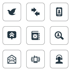 Vector Illustration Set Of Simple Communication Icons. Elements Left Right Arrows, Open Envelope, Selfie And Other Synonyms Hope, Left And Envelope.