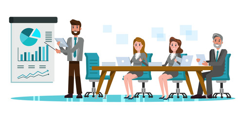 Business people in meeting room. Businessman presentation of the project.  flat design elements. vector illustration
