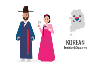 Korean man and woman in traditional costume. Korea map and flag  in the background. flat character design. vector illustration