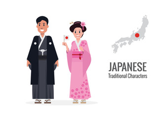 Japanese man and woman in traditional costume. Japan map and flag in the background. flat character design. vector illustration