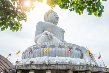 Big Buddha statue Was built on a high hilltop of Phuket Thailand Can be seen from bodhi tree is symbol buddhism. Famous place and most popular for tourist in vacation
