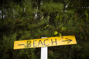hand drawn sign pointing to the beach peaking out of green bushes