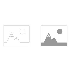 Picture of mountains and Sun icon.  the grey color icon .