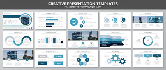 Set of blue elements for multipurpose presentation template slides with graphs and charts. Leaflet, corporate report, marketing, advertising, annual report, book cover design.