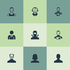 Vector Illustration Set Of Simple Avatar Icons. Elements Whiskers Man, Male User, Low Energy Character And Other Synonyms Sportsman, Boy And Male.