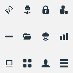 Vector Illustration Set Of Simple Apps Icons. Elements Dossier, Statistics, Lock And Other Synonyms Hourglass, Bar And Sharing.
