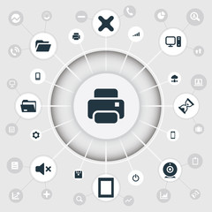 Vector Illustration Set Of Simple Computer Icons. Elements Telephone, Smartphone, Folder And Other Synonyms Sandglass, Web And Cogwheel.