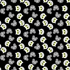 set of seamless pattern with cat and mouse. vector
