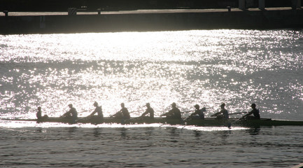 Silhouetted athletes rowing at sunset