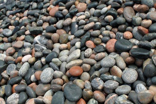 Pebble Beach - wet pebbles