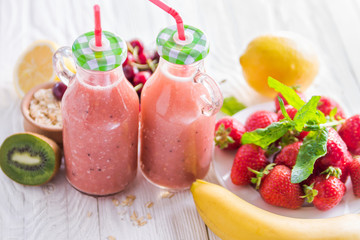 Fruity smoothie and ingredients