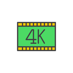 4k video filled outline icon, vector sign, colorful illustration
