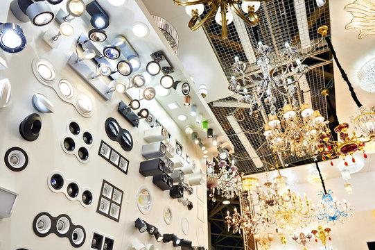 Department of fixtures and chandeliers in store