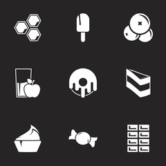 Icons for theme Confectionery and sweets. Black background