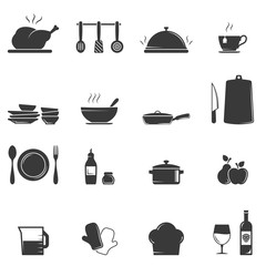 Kitchen and culinary icons on white background
