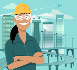 Female engineer or a construction worker standing in front of a cityscape in a safety helmet and goggles, EPS 8 vector illustration