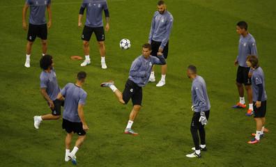Real Madrid's Cristiano Ronaldo and team mates during training