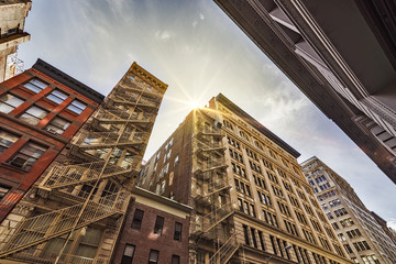 apartment buildings and fire escapes
