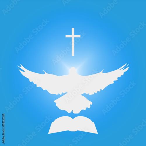 Illustration for Christian Community: Dove as Holy spirit, cross