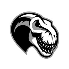 Dinosaur head sport club vector logo concept isolated on white background.