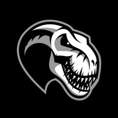 Dinosaur head sport club vector logo concept isolated on black background.