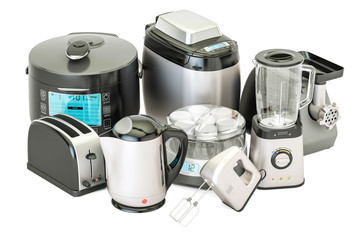 "Set of kitchen home appliances. Toaster, kettle, mixer, blender, ""yogurt maker"", multicooker, grinder, bread machine, 3D rendering"