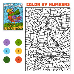 Color by number for children, Parrot in a scarf