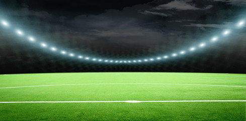 soccer field with thw very bright lights