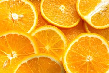 Orange fruit. Orange slices, half orange, whole orange, orange background