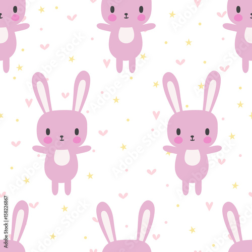 Cute seamless pattern with cartoon bunny cartoon baby animals cute seamless pattern with cartoon bunny cartoon baby animals funny background for little girls voltagebd Images