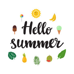 Hello summer. Beautiful poster with ice-cream, pineapple, banana, watermelon, palm leaves and hand written text. Funny vector background