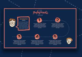 Five Section Illustrated Timeline Inforgraphic