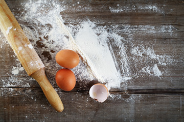 Eggs and rolling pin