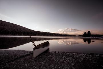 Moody Morning Canoe at Lake