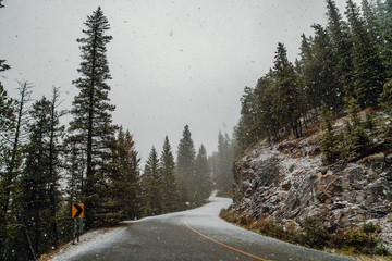 Scenic view of snow fall on mountain road