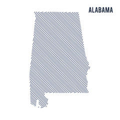 Vector abstract wave map of State of Alabama isolated on a white background.