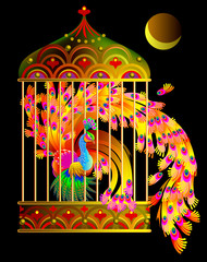 Illustration of fantastic firebird sitting in a gold cage from fairyland. Vector cartoon image.