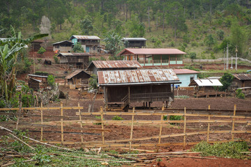 Authentic and poor life of Myanmar in Pan Pet village