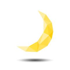 Polygon Moon Icon on white background