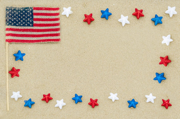 Patriotic USA background on the sandy beach
