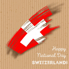 Switzerland Independence Day Patriotic Design. Expressive Brush Stroke in National Flag Colors on kraft paper background. Happy Independence Day Switzerland Vector Greeting Card.